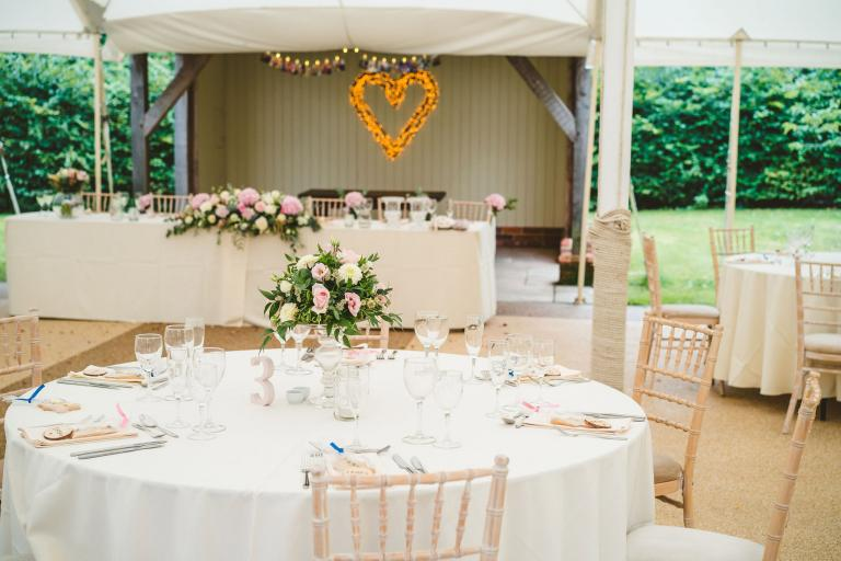 Spring wedding reception in the marquee